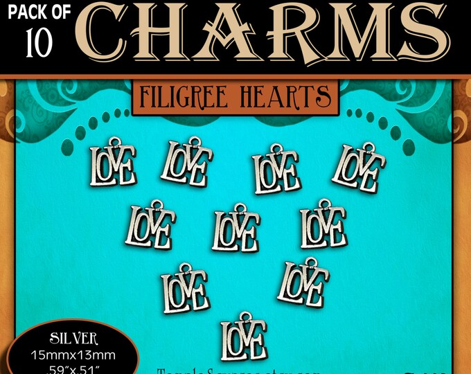 """CHARMS - Pack of 10 Antique Silver """"LOVE"""" diy Jewelry Necklaces Bracelets Pendants lds Craft Supplies YW Girls Camp Press Forward 2016"""