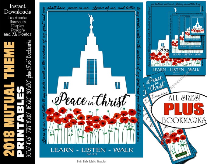 2018 Mutual Theme LDS YW Peace in Christ Peace in me D&C 19:23 Printable Posters Bookmarks Instant Download Twin Falls Idaho Temple