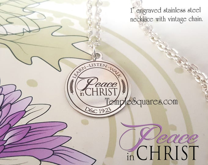 YW 2018 Peace in Christ - Pendant Necklace Young Women, Engraved Stainless Steel gifts - Mutual Theme Birthday Gift New Beginnings YWIE