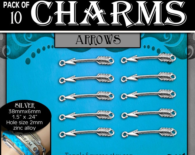 CHARMS - Arrow Antique Silver - Pack of 10 Charms. DIY Jewelry Findings for Necklaces, Bracelets, Press Forward YW theme Craft Activity