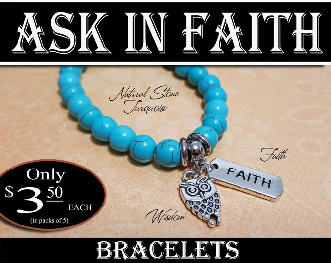 YW Ask of God Ask in Faith Bracelets Turquoise Young Women Theme Jewelry Charms New Beginnings, Missionary, Christmas, Birthday gifts