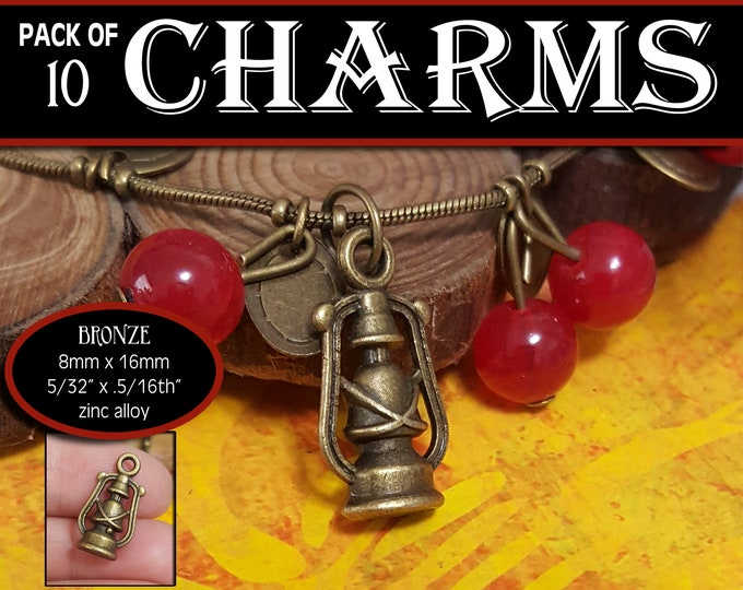 Lantern Charm - Pack of 10 Charms  - Girls Camp Secret Sister Gifts Charm Bracelet Jewelry Supplies 2019 Come Follow Me New Beginnings Craft