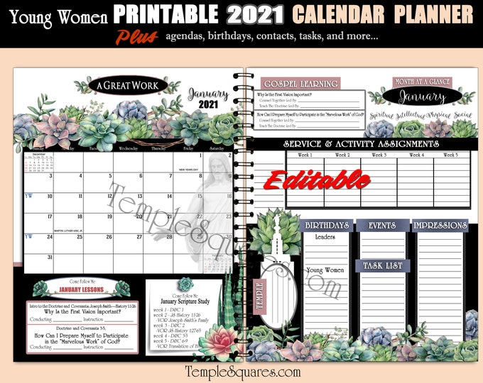 Editable PDF YW Presidency and Class Calendar Planner Agendas Cover 2021 Youth Theme A Great Work Printable Bundle Plus DIY Tabs Ministering