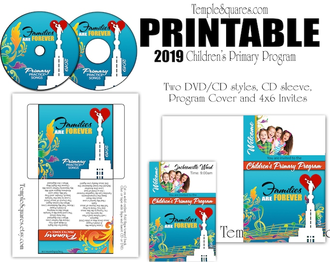 Printable CD labels for 2019 Children's Primary Program Songs, Families Are Forever, Program Cover,  invitations Come Follow Me for Primary