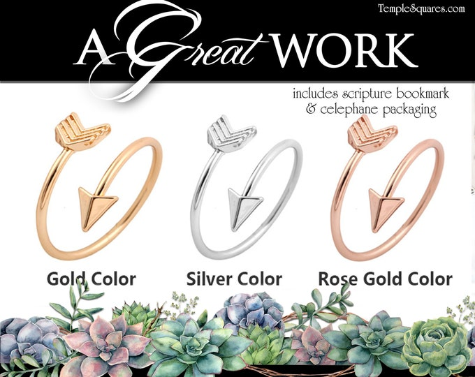 Arrow Adjustable Rings YW 2021 Youth Theme A Great Work Come Follow Me Young Women New Beginnings Christmas Relief Society Primary Gift idea