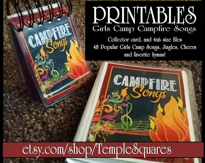 PRINTABLES Girls Campfire Songs Book. Non Denomination Version. Jingles and Songs in 2 Sizes. Girls Scout Camp and Brownies. DIY Printable