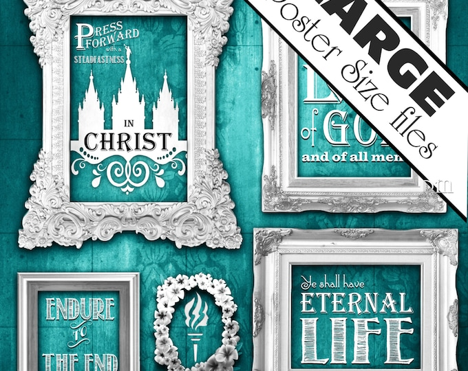 """XL-LARGE printable square scripture art poster sizes young women """"Press Forward"""" with Steadfastness in Christ"""" instant download chalkboard"""
