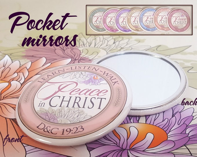 YW Peace In Christ Young Women Theme Pocket Mirror Gift. For Gifts, New Beginnings, Birthday, Missionary, YWIE Standards Night