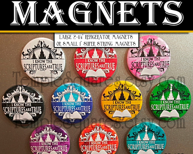 Pack of 5 Refrigerator Magnets or Bulletin Chalkboard Super Strong Magnets Primary 2016 I Know the Scriptures Are True Birthday Baptism Gift