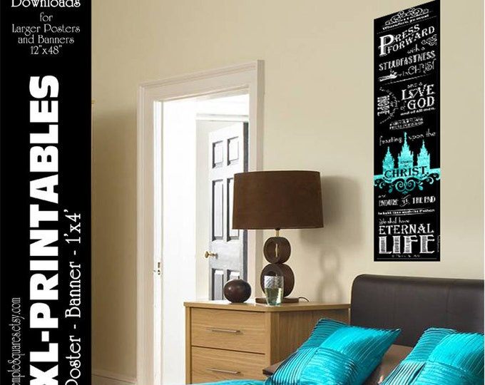 XL-LARGE poster size printable file. Press Forward with a Steadfastness in Christ.  Vintage Chalkboard - Turquoise & Gold