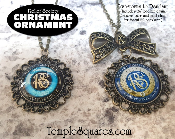 Relief Society Emblem Symbol Christmas Ornament, Birthday, Pendant Gift for Presidency, Visiting Teaching, or Missionary