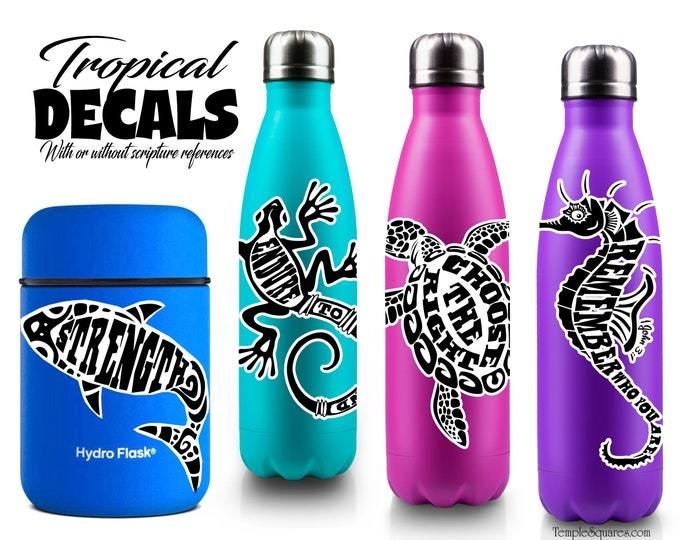 Island Style Inspirational Decal Stickers for water bottles  cell phones laptops Scripture Quotes Sea Turtle decals Polynesian