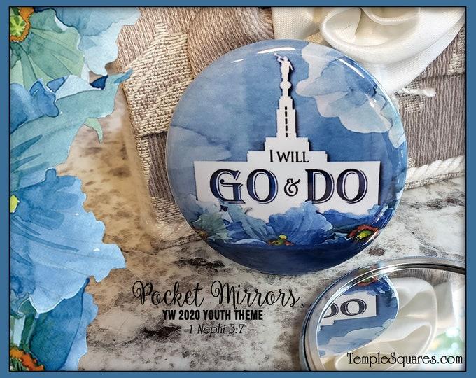 Go and Do 2020 YW Youth Theme Young Women Pocket Mirror for LDS Missionaries Relief Society Christmas Gifts New Beginnings Birthday Gift