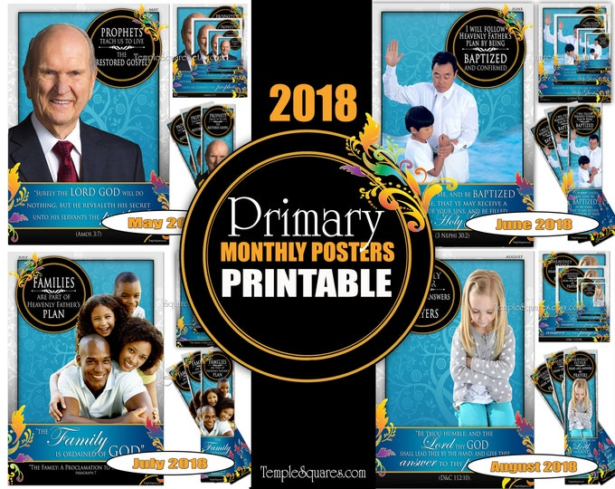 Printable Primary Monthly Posters 2018 I am a Child of God Poster Bookmark and Handouts 5 sizes XL poster size down to handout May-August