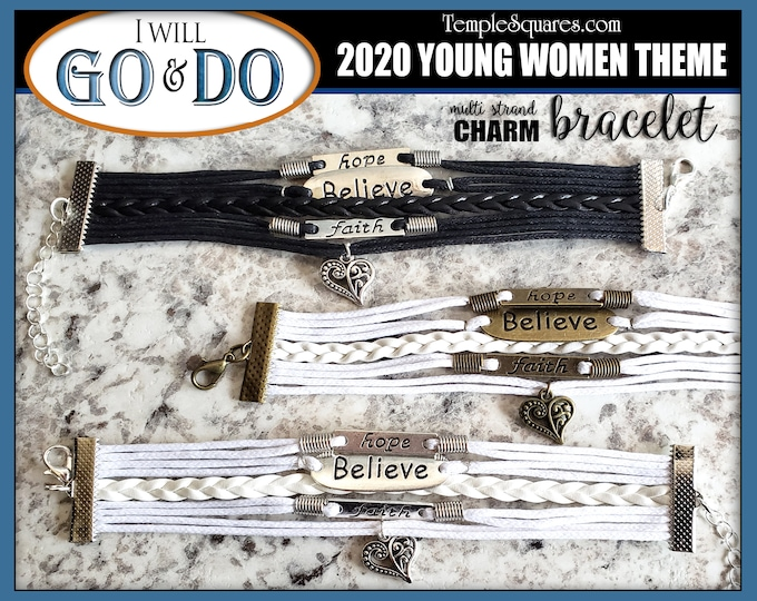 5 strand Charm Bracelets Hope Believe Faith Go and Do 1 Nephi 3:7 2020 Young Women Theme Jewelry Charms Missionary Christmas Birthday gifts
