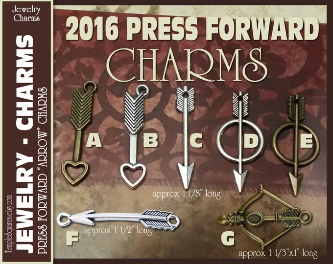 Pack of 10 Arrow Charms for DIY Jewelry Press Forward YW 2016 Mutual Theme. Craft Supplies for LDS activities or gifts, pendants, bracelets