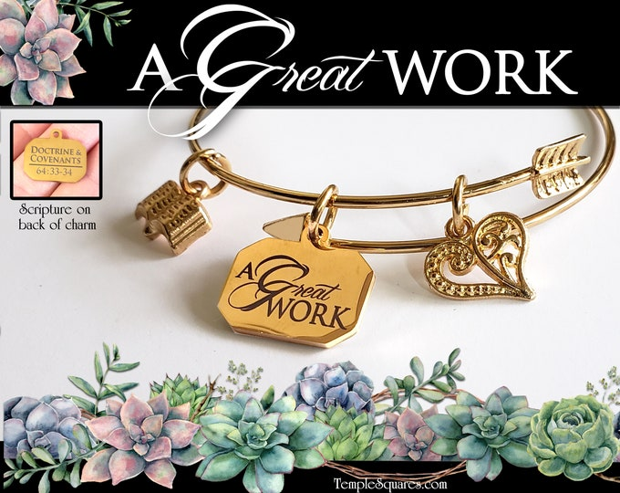 YW 2021 A Great Work YW Theme Engraved Charm Bracelet Young Women Jewelry Charms Missionary gift New Beginnings Relief Society Christmas LDS