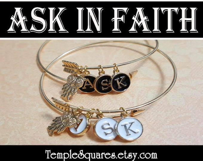 YW Ask of God Ask in Faith Charm Bracelets Young Women Theme Jewelry Charms Girls Camp, Graduation Gift, Birthday Gifts Typewriter Keys