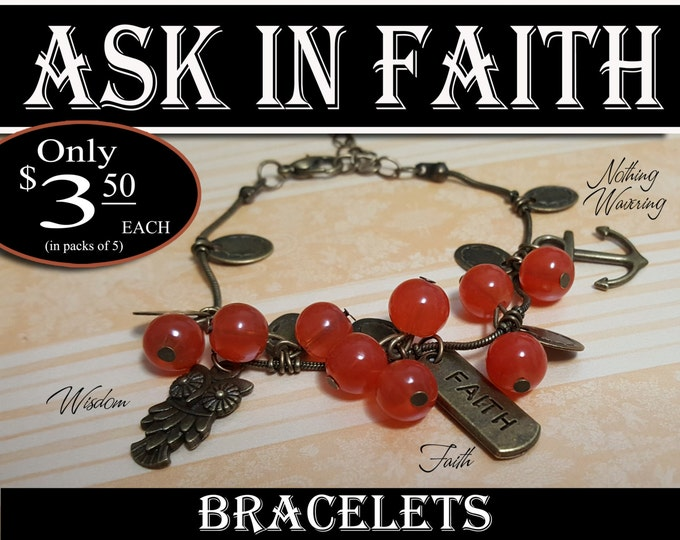 YW Ask of God Ask in Faith Charm Bracelets Young Women Theme Jewelry Bronze Berry and Charms New Beginnings Missionary, Birthday gifts