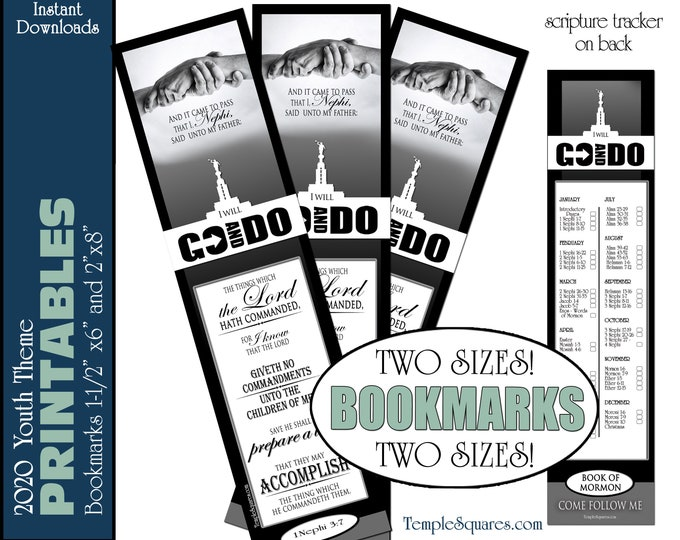 PRINTABLE Bookmarks I Will Go and Do 2020 Youth YM Mutual Theme LDS Young Men with Temple  1 Nephi 3:7 Scripture Tracker Bookmark Priesthood