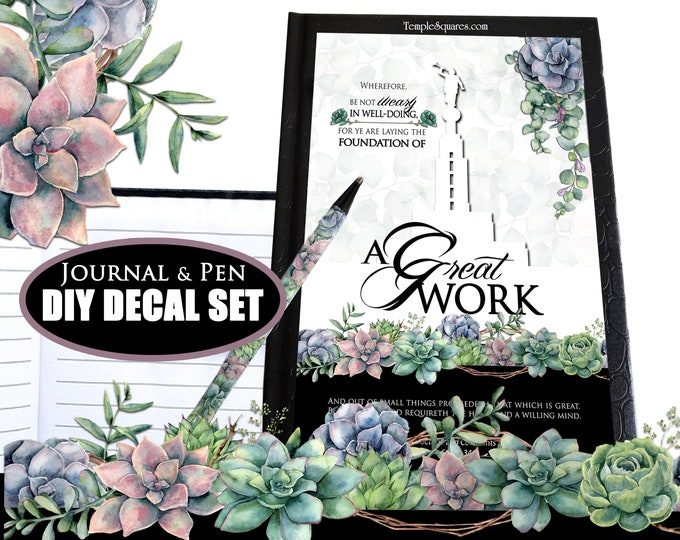 DIY Journal & Pen Decal Set - Journals not included YW 2021 A Great Work Youth Theme Come Follow Me Young Women birthday goals gratitude