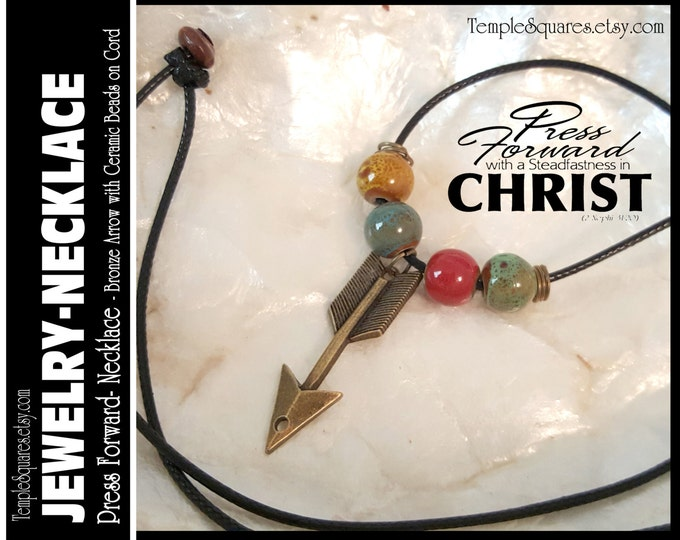 Arrow Charm Necklace. Press Forward 2016 Mutual Theme.  Ceramic Beads, Bronze Arrow Charms. LDS Jewelry Gifts YWIE Girls Camp RS Missionary