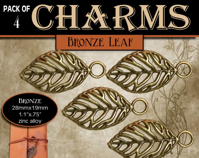 Brass Leaf Charms -Pack of 4- for Jewelry or accents on DIY crafts. Great for LDS missionary, YW girls camp or conference journals. Supplies