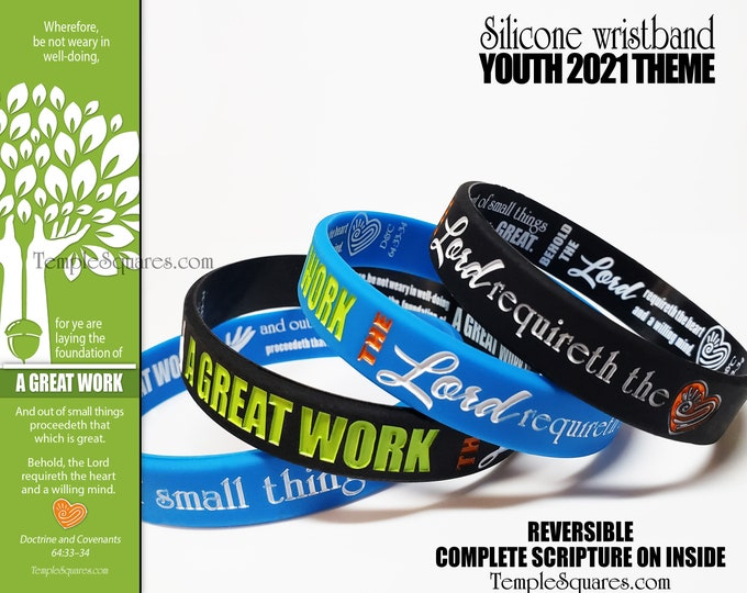 "2021 YW Youth Theme ""A Great Work"" silicone bracelet wristbands for birthday gifts goals D&C 64:33-34 New Beginnings Christmas Conference"