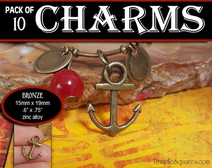 Anchor Charms - Pack of 10 Charms - Girls Camp Secret Sister Gifts Charm Bracelet Jewelry Supplies 2019 Come Follow Me New Beginnings