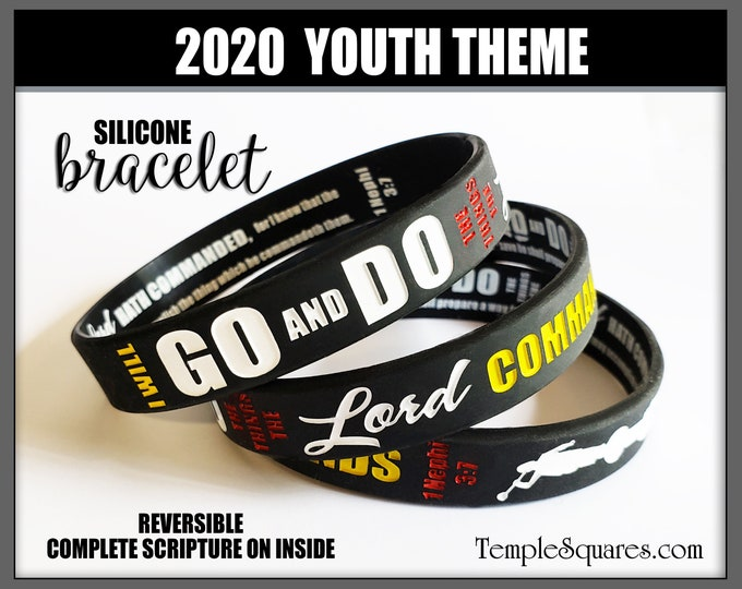 "2020 YW YM Youth and Primary Children Theme ""Go and Do"" silicone bracelet wristbands for birthday gifts goal New Beginnings Christmas LDS"