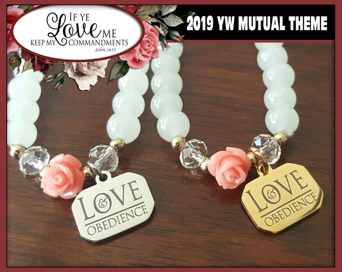 WHOLESALE Charm Bracelet YW 2019 Love & Obedience If Ye Love Me Keep My Commandments Young Women LDS Mutual Theme Jewelry Natural Stone Bead