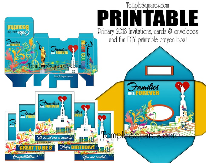 PRINTABLE 2019 Primary Families Are Forever Invites Cards Happy Birthday Great to be 8, Matching Envelopes and Colorful DIY Crayon Box craft