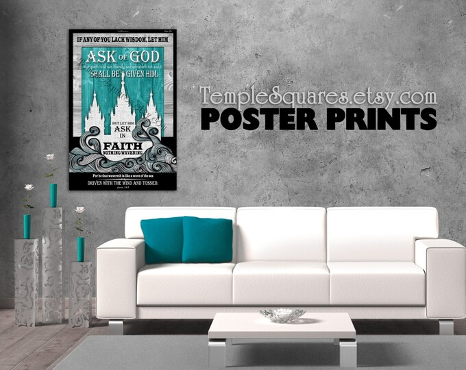 Poster prints - Large Printed Posters! LDS YW Young Women mutual theme. Ask of God Ask in Faith UV Archival Ink Temple Fine Art
