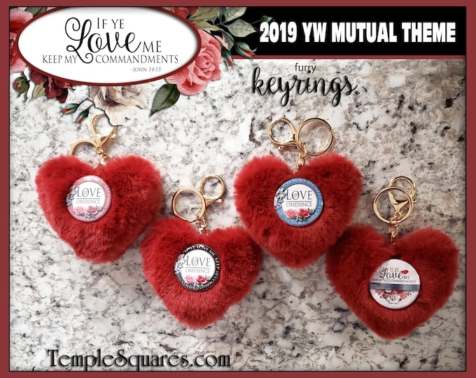 YW LDS Gift Keychain fur heart If Ye Love Me Keep My Commandments 2019 Jewelry Purse Key Ring Come Follow Me Mutual Theme Christmas Gift
