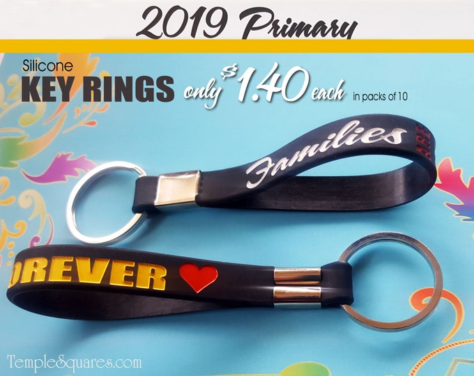 2019 Primary Come Follow Me Families Are Forever LDS silicone key rings Christmas gift birthday gifts baptism great to be 8 Wristband Key