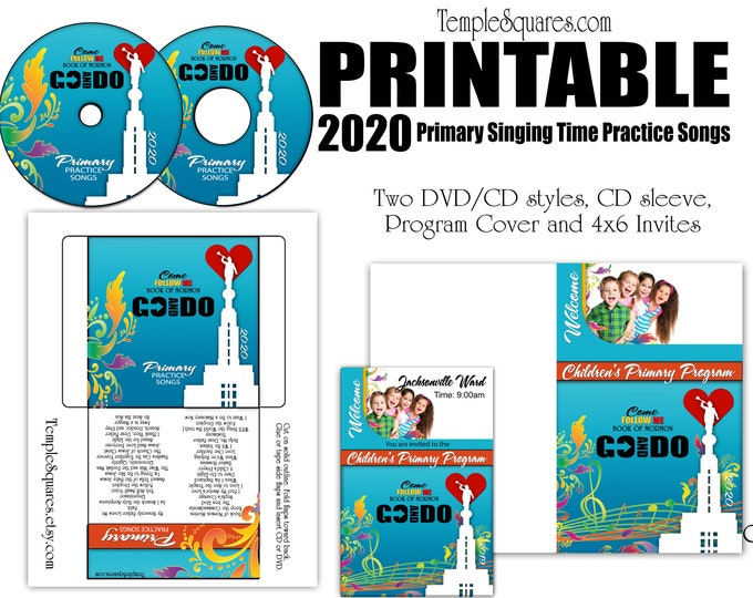 Printable CD labels for Children's 2020 Primary Practice Songs, Come Follow Me Book of Mormon Program Cover invitations for Primary Program
