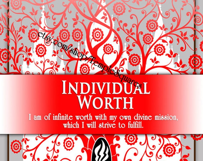 "Printable - 3 sizes! LDS Young Women Personal Progress Values ""Individual Worth"" Art 2014 Instant Download Digital Files"