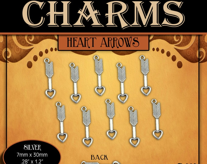 CHARMS - Heart Arrow Antique Silver - Pack of 10 Charms. DIY Love Jewelry Findings for Necklaces, Bracelets, Pendants, LDS Craft Supplies