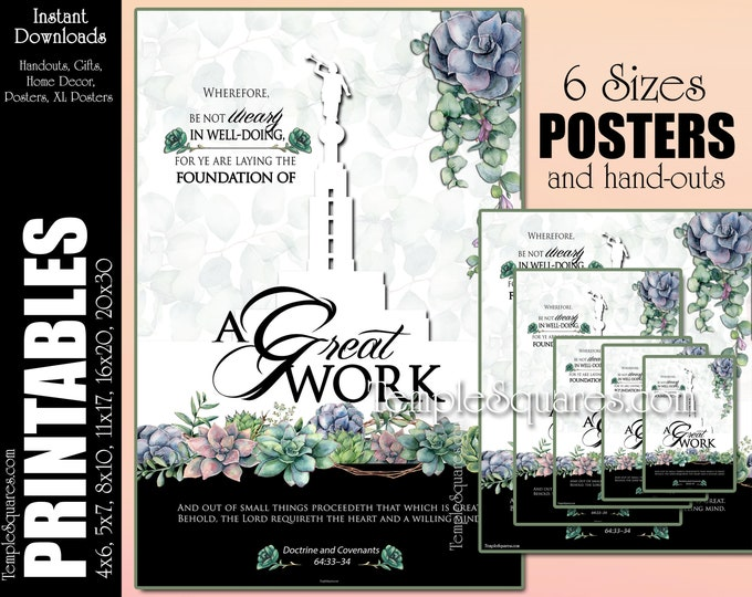 2021 YW Theme A Great Work Printable Posters and Handouts Young Women LDS Home Decor Succulents Instant Digital Download Relief Society