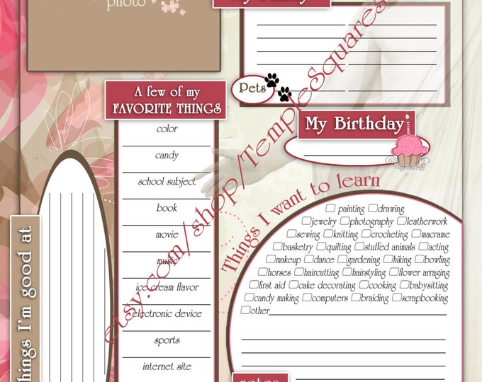 "Printable YW Presidency 2015 Calendar Planner ADD-ON ""Getting To Know Me Questionnaire"" Embark in the Service of God theme"