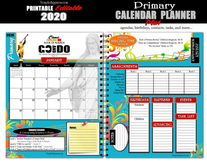 2020 Come Follow Me Go and Do Primary Presidency Calendar Planner LDS  Printable Editable  PDF Bundle Instant download binder DIY