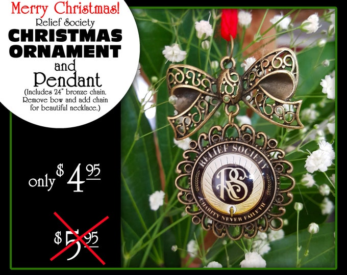 Relief Society Emblem Symbol Christmas Ornament and Pendant Gift for Presidency, Visiting Teaching, or Missionary