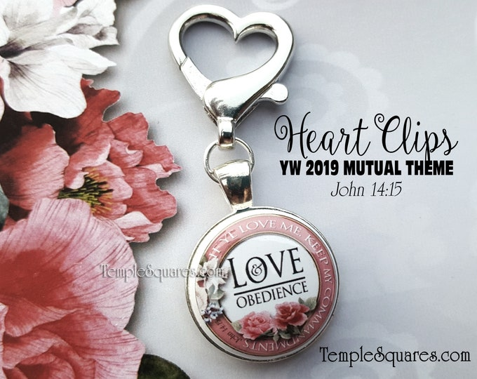 YW Heart Clip If Ye Love Me Keep My Commandments 2019 Young Women Mutual Theme Zipper Pull Charm Gift LDS Gifts New Beginnings Birthday YWIE