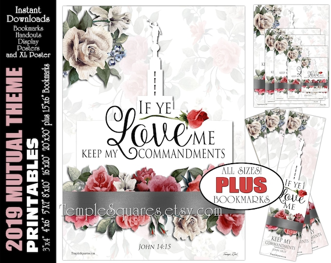 YW Young Women Theme LDS If Ye Love Me Keep My Commandments John 14:15 Printable Posters Handouts Bookmarks Instant Download Digital Collage