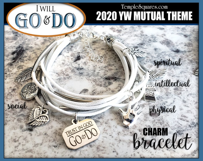YW 2020 Go and Do Mutual Theme Charm Bracelet - 1 Nephi 3:7 Young Women  Jewelry Charms Missionary gift New Beginnings gifts Multi-strand