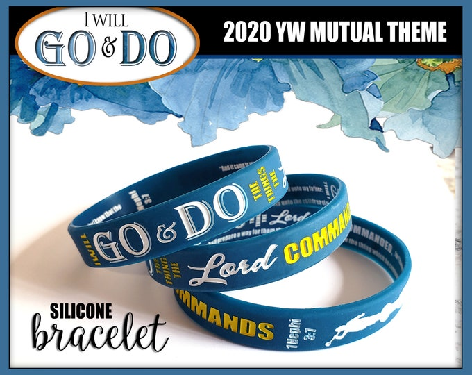 "2020 YW Youth Theme ""GO and DO"" silicone bracelet wristbands for birthday gifts goal incentive gift New Beginnings Christmas Conference"