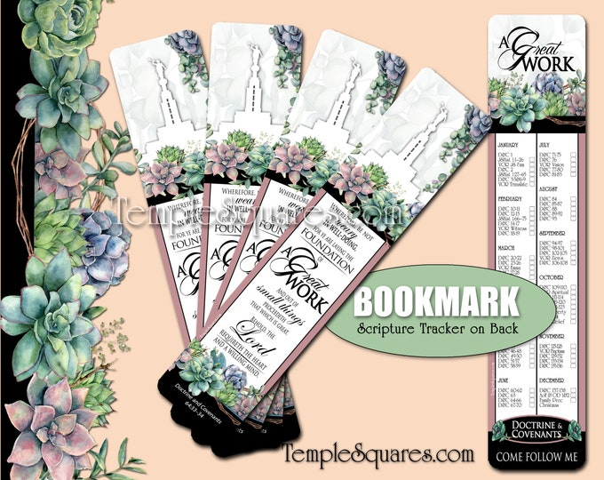 2021 A Great Work Pack of 10 Bookmarks Come Follow Me Doctrine & Covenants Scripture Study Tracker YW Youth Theme Relief Society LDS