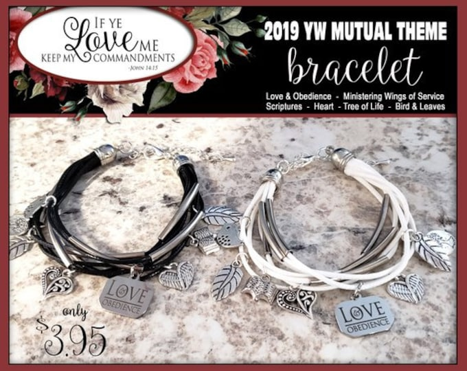 YW 2019 Theme Charm Bracelet - Love & Obedience If Ye Love Me Keep My Commandments Bracelet Young Women  Jewelry Charms New Beginnings gifts