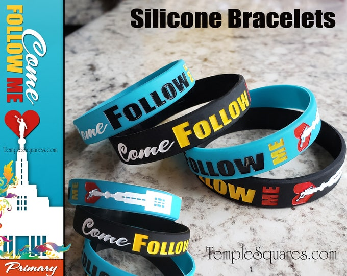 "LDS Primary  ""Come Follow Me"" silicone bracelet wristbands for birthday gifts baptism great to be 8 singing time Families are Forever"