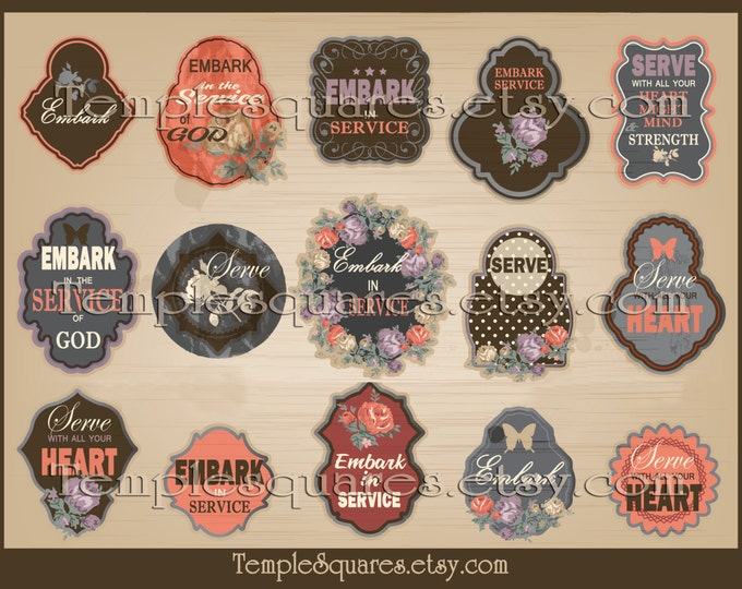 Printable Digital Files Vintage Style Gift Tags or Labels EMBARK In The Service Of God Young Women 2015 Theme YW Serve With All Your Heart